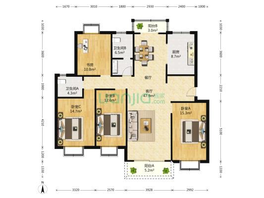 新舒苑 4室2厅 245万