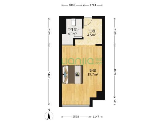 小户型精装一房公寓,楼层高,视线开阔