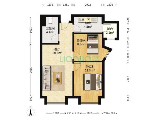 天津富力新城 2室1厅 73.15平米