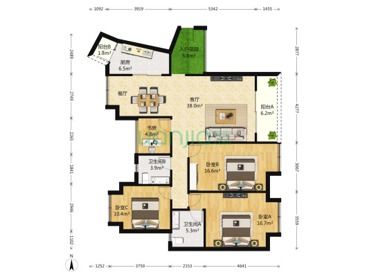 巴国城后门繁华地段精装四房,拎包入住,户型端正。