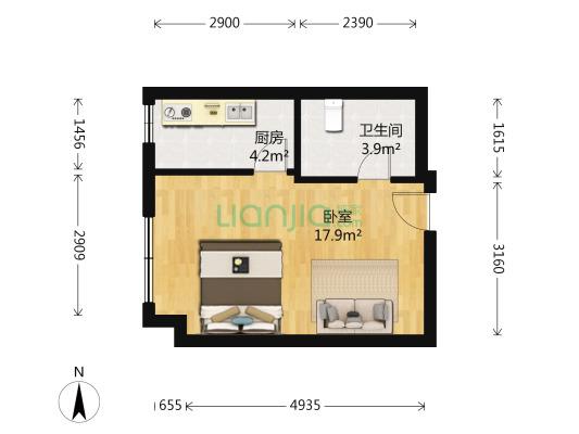华泰家园 1室1厅 西