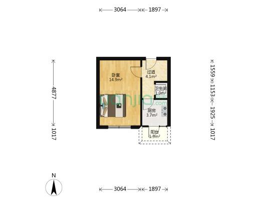年丰园 1室1厅 南