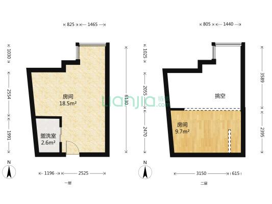 本房户型朝北,单身*,全明落地窗挑高3.6米复式