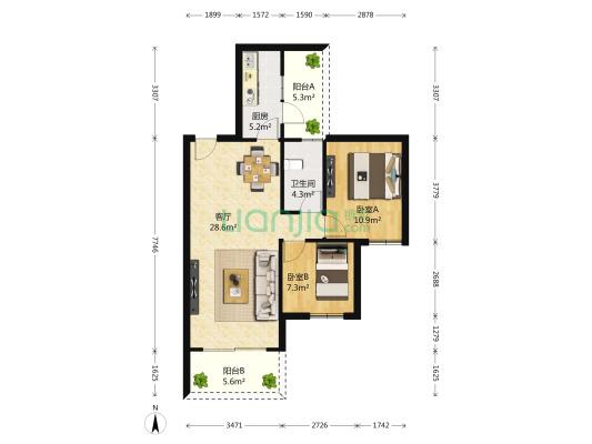 金科西城大院 2室1厅 135万