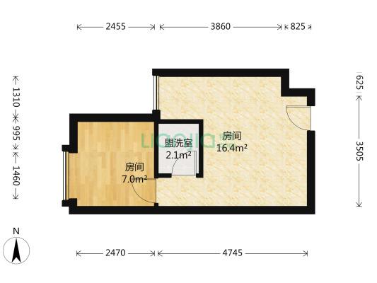 麒麟公馆 1室1厅 西