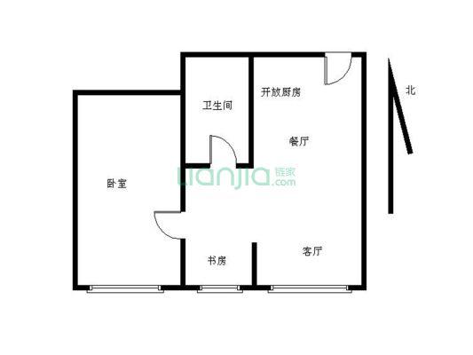 领峰园 户型方正 正规一房一厅一卫,交通配套成熟。