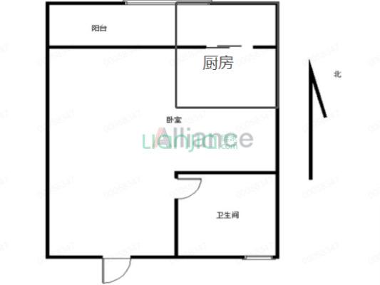 品质小区,安泰公寓,1室1厅,外阳台