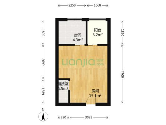 宝龙城市广场(青浦) 1室1厅 北