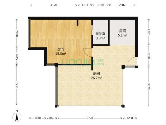 仁和春天国际广场 1室1厅 南 西