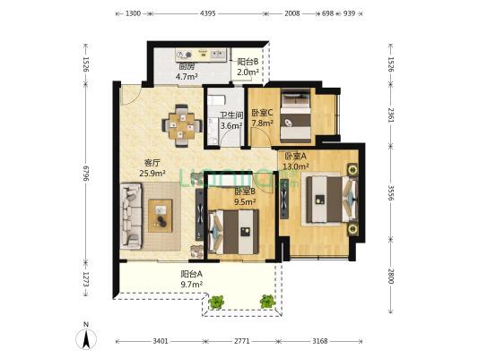 此房满2年,无*税,开发商统一精装修,产权清晰