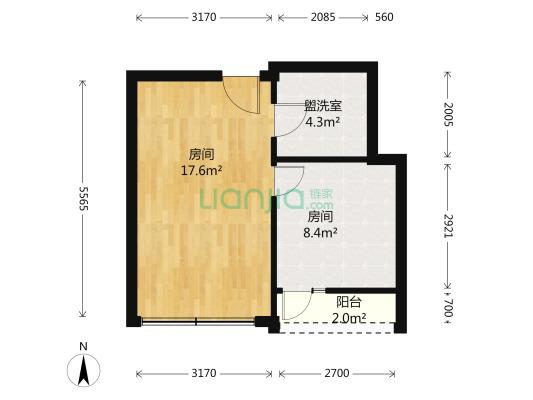 尚都国际酒店公寓 2房间1卫 70万