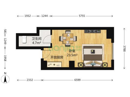 万达广场商务综合楼 1室1厅 南