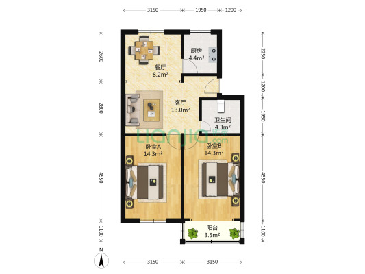 江海二村(奉贤) 2室2厅 129万