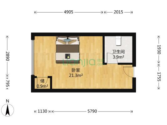 花果园R1区 1室0厅 东