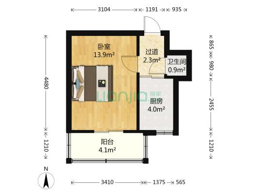 凤城楼 1室1厅 30平米