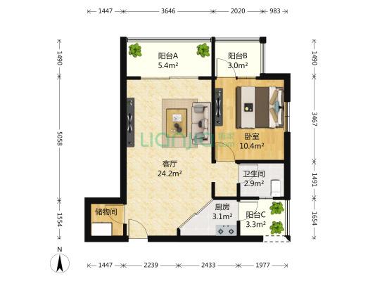 三个阳台,正规一室一厅,户型方正