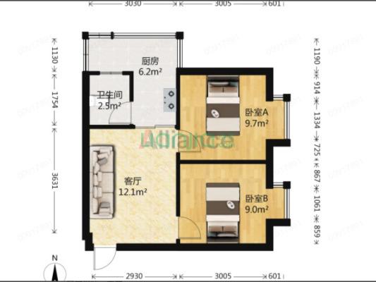 此房是两房一证  一个两房一厅  一个一房一厅