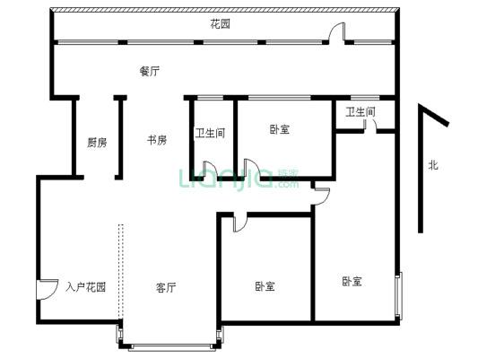 此房西南向看花园安静舒适,自带110平的大露台