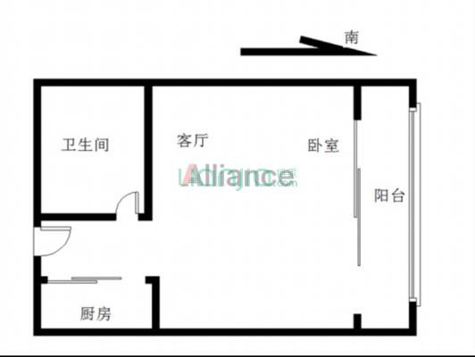 蝴蝶谷 1室1厅 南