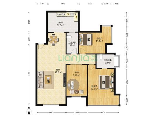 普华熙岸 3室1厅 东南 北