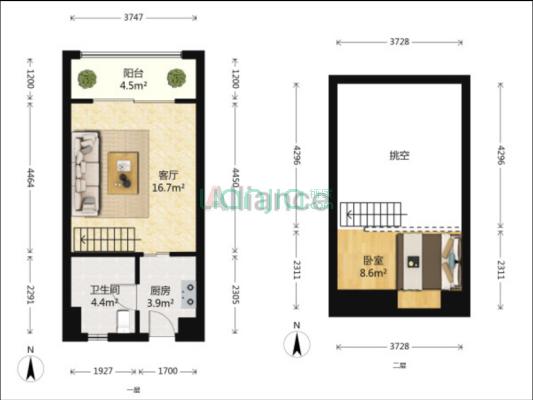宝龙国际公寓 1室1厅 东