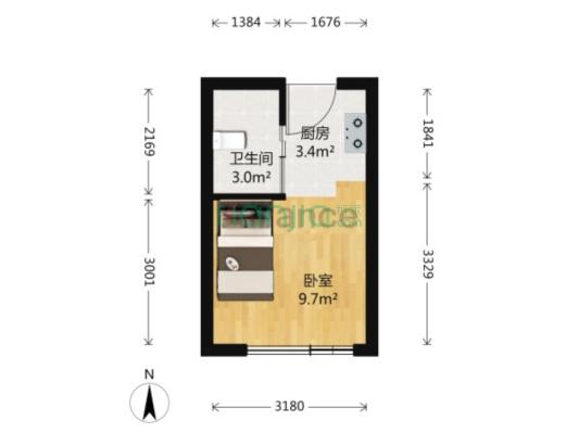 镇海庄市财富广场公寓28平32万朝南
