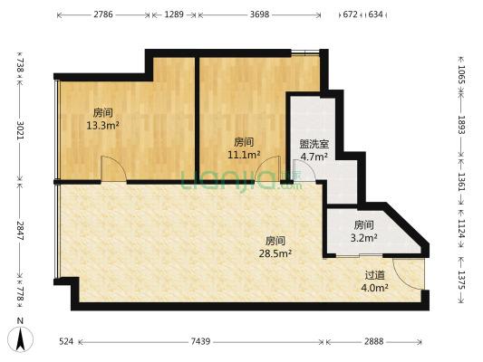 富力史丹尼国际公寓 1室1厅 东