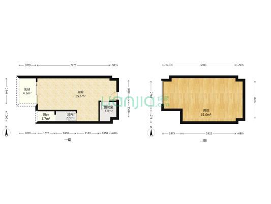 此房清水跃层,上下两层皆可使用,户型方正,采光优良