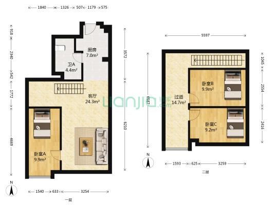 复式公寓,适合各年龄段人群居住。