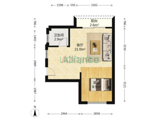 一房一厅高楼层,采光好,满二,是居家好选择
