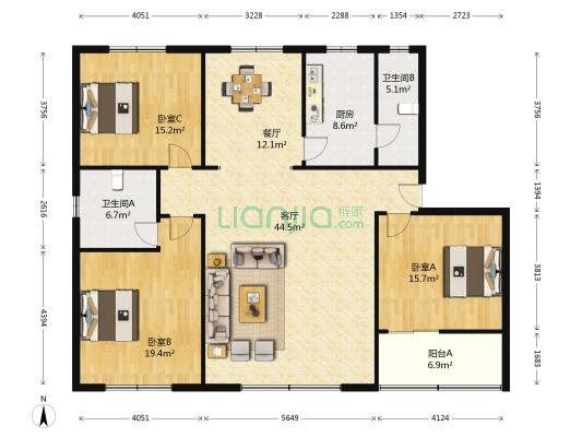 中药材综合楼 3室2厅 东南
