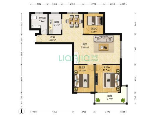 此房子的户型在小区里是正规通透的套三户型,位置很好