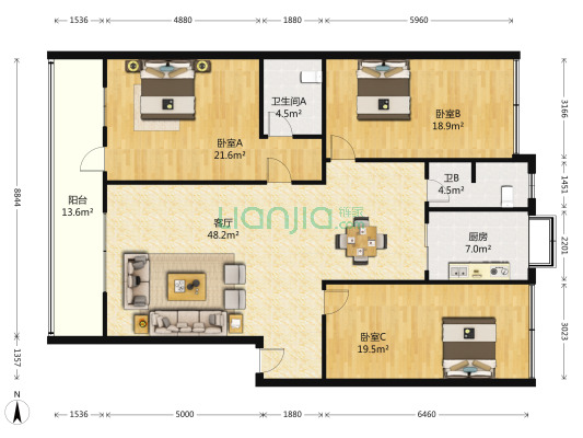 青青家园 3室1厅 南 北